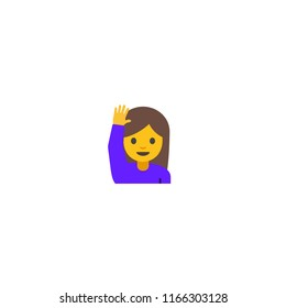 Girl with Raising Hand Vector Character