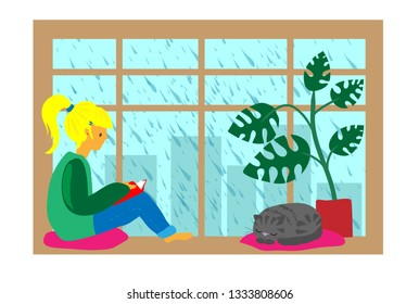 Girl read book on window, rainy day