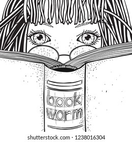 Girl is reading book.  Coloring book page for adult. Black and white. Bookworm.