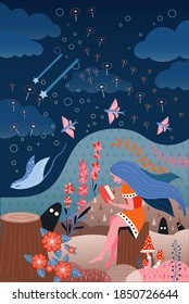 Girl reading book in fairy forest with fantasy creatures and plants. Young woman sitting on stump in dreams surrounded by fantasy world with flying fishes, falling stars and magical characters.