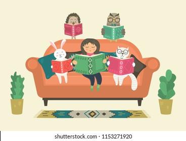 Girl reading book with fantasy clever animals on sofa. Fantasy world. Original vector illustration.