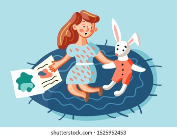 Girl reading book flat illustration. Little kid sitting on floor and speaking with soft rabbit toy cartoon characters. Child in kindergarten room isolated design element. Educational game