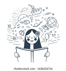 Girl reading a book and imagining the story. Icon in a linear style. black and white illustration