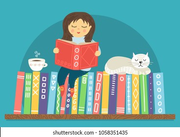 Girl reading book. Little girl sitiing on bookshelf with white sleeping cat and cup of tea on teal background. Reading, education, learning concept. Cute vector illustration.