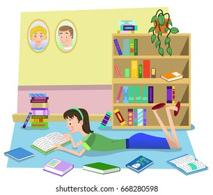 Girl reading book on the floor in a living room, lots of books piled around her and standing in shelf (vector illustration)