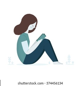 Girl reading a book on nature. Vector illustration