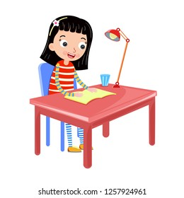 a girl reading book on the table vector illustration