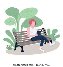 Girl reading book in park flat color vector faceless character. Lonely woman enjoying novel, student sitting on bench with textbook isolated cartoon illustration for web graphic design and animation
