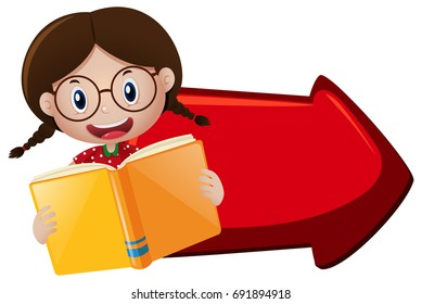 Girl reading book and red arrow illustration
