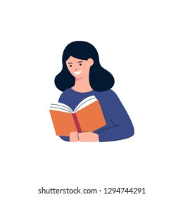 Girl is reading a book vector illustration