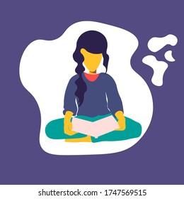 girl reading a book - vector illustration