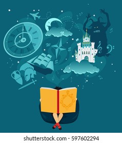 Girl reading a giant book, fantasy romantic images hovering over her head, EPS 8 vector illustration, no transparencies