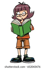 girl reading a green book