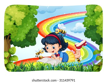 Girl reading in nature with rainbow illustration