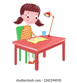 girl reading on the table book vector