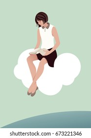 Girl reading sitting on a cloud. The sky and the sea in the background. Vector Illustration