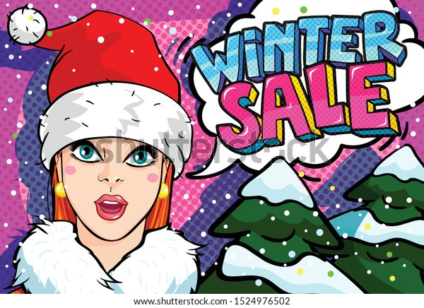 Winter Girl with Red Hat Clip Art