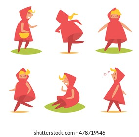 Girl in the red hood. Talking, singing, dancing, running, sitting, basket. Vector illustration. Cartoon character. Isolated.