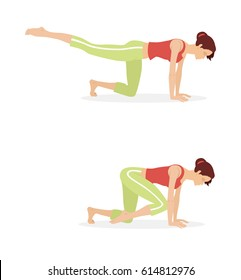 A girl in a red T-shirt and light green shorts does the Pilates exercise: imitation swimming with a breaststroke. On a white background