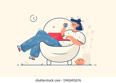 Girl relaxing in armchair vector illustration. Woman resting with laptop and cup of coffee flat style. Happy weekend, cozy home atmosphere and relaxation concept. Isolated on yellow background