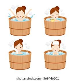Girl Relaxing In Hot Spring Bath Set, Onsen, Japanese, Culture, Healthy, Season, Body