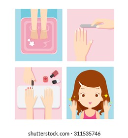 Girl relaxing in nail salon, beauty shop, manicure, pedicure, spa, lifestyle, concept