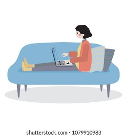 Girl is relaxing on comfortable chair and using laptop.Vector flat illustration