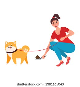 The girl removes the feces after the dog. A man with a pet. Female character walks the dog on a leash. Vector illustration