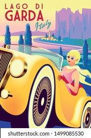 Girl in a retro car with lake, cypress trees, mountains and a small town in the background. Handmade drawing vector illustration. Art Deco retro poster.