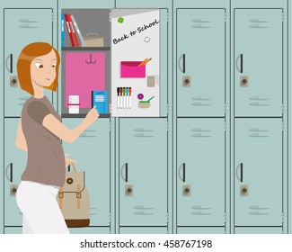 The girl returned to school after the holidays and take textbooks in the locker. Vector illustration