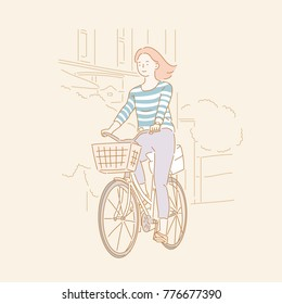 a girl ride bicycle. line background concept hand drawn style vector doodle design illustrations.