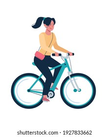 The girl rides a bicycle. Healthy lifestyle, alternative environmentally friendly transport. Vector. Woman on a bike in a flat style