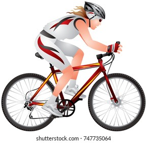 Girl rides a Mountain Bike realistic vector illustration, cyclist biker racer series, bicycle race, bicycle tourism