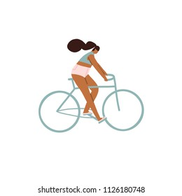 Girl riding a bicycle. Cycling people illustration in vector.