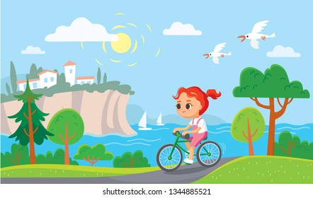 Girl riding a bicycle. Summer mediterranean background.