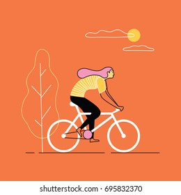 Girl riding bicycle. Vector illustration.