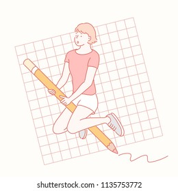 A girl riding giant pencil. hand drawn style vector design illustrations.