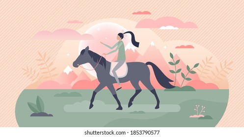 Girl riding horse as equestrian outdoors ride activity tiny person concept. Female jockey in recreation moment on romantic holidays vector illustration. Animals hobby lifestyle with stable or ranch.