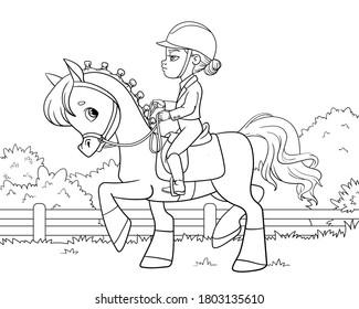 Girl riding a horse. Equestrian sport. Coloring book for children. Cartoon vector illustration.