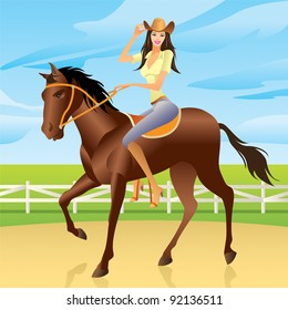 Girl riding a horse in Western style  - vector illustration