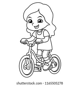 Girl Riding New Green Bicycle BW.