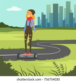 Girl riding on gyroscope on city background, fashionable young woman on self balancing modern electric scooter vector illustration