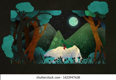 Girl riding on the polar bear in front of forest, mountains and night sky. Fairy tale illustration