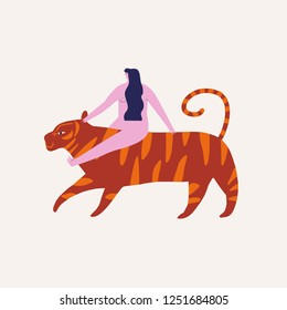 Girl riding on a tiger illustration in vector.
