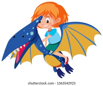 A girl riding Pteranodon illustration