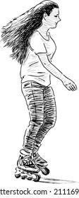 girl riding a roller skates