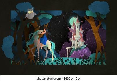 Mädchen, die ein Einhorn vor Nachthimmel und Schloss reiten