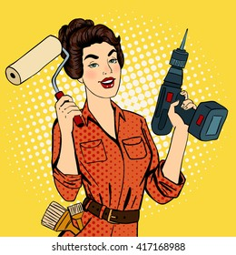 Girl with Roller Brush and Drill. Woman Doing Repairs. Pop Art. Vector illustration