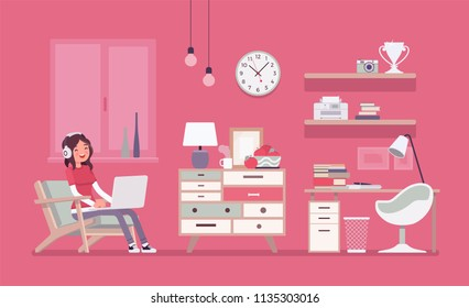 Girl room interior design. Female modern apartment project, teenage private space with furniture and traditional pink decoration to enjoy comfortable living. Vector flat style cartoon illustration