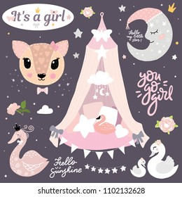 Girl room kid decor moon deer swan baby